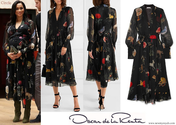 Meghan Markle wore Oscar de la Renta Belted printed silk-chiffon midi dress