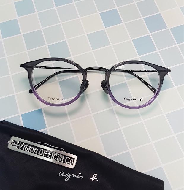 agnes b AB47001 梨形鈦金屬中金眼鏡