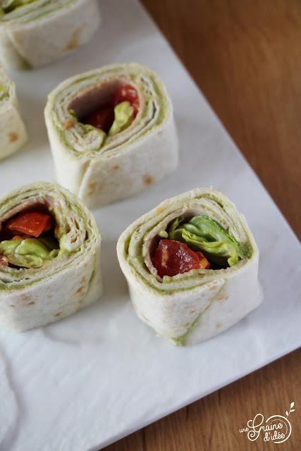 Wraps Guacamole Tomates Bacon Recette facile rapide et pas chère