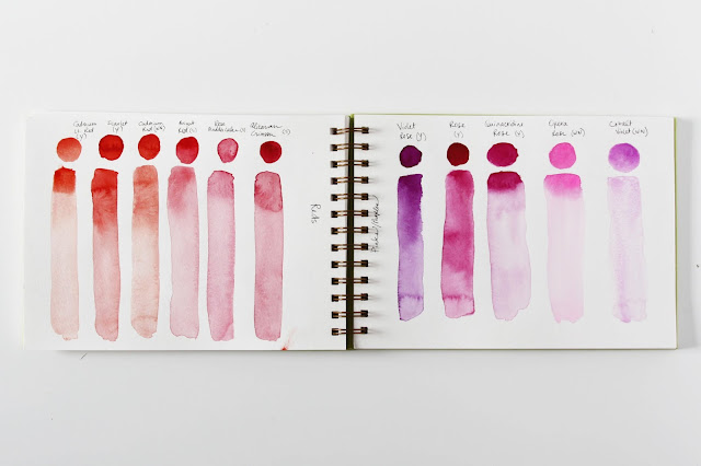 watercolor, sketchbook, color, color test, color swatch, Anne Butera, My Giant Strawberry