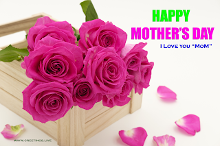 "Greetings message : Happy Mother's Day, Tag line : I Love You "" MoM"", Pink roses Flowers bouquet"