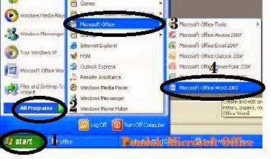 membuka ms word dengan menu start