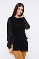 Pulover PrettyGirl negru casual tricotat cu maneci din voal • PrettyGirl