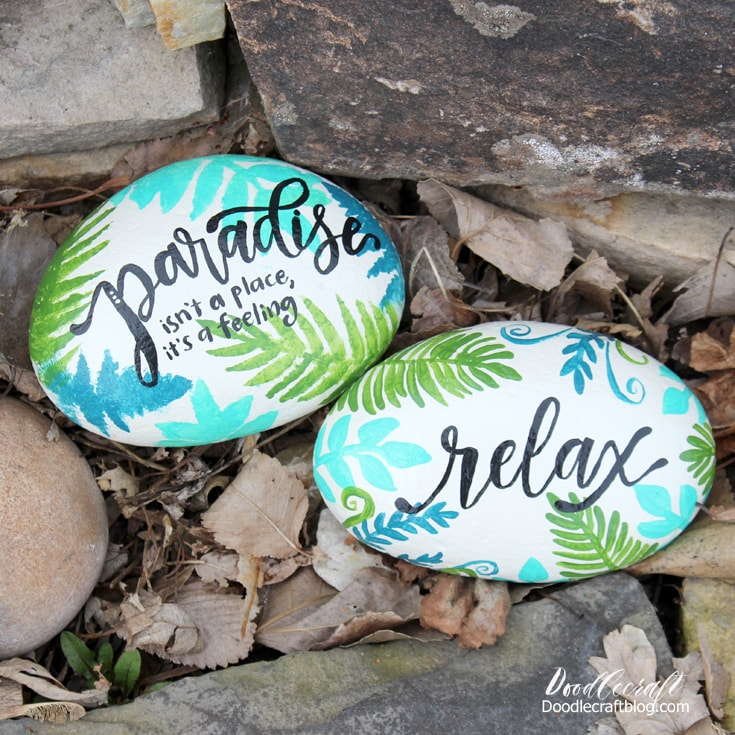 How to paint rocks with tropical palm fronds and caligraphy