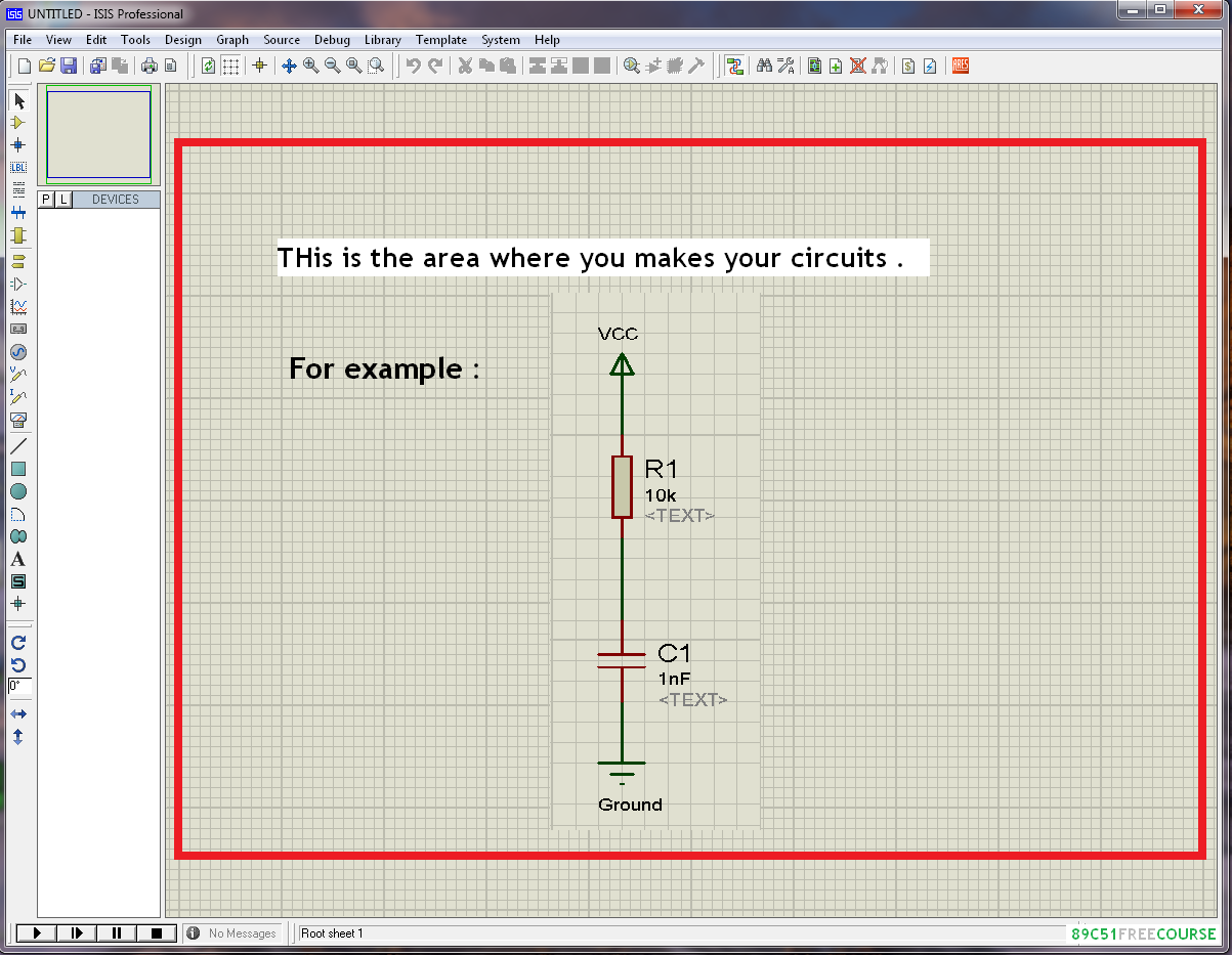 89c51 Free Course Schematic Design Examples Using The Proteus Open Software Isis And It Is Shown In Below Figure A Central Area Highlighted This Which We