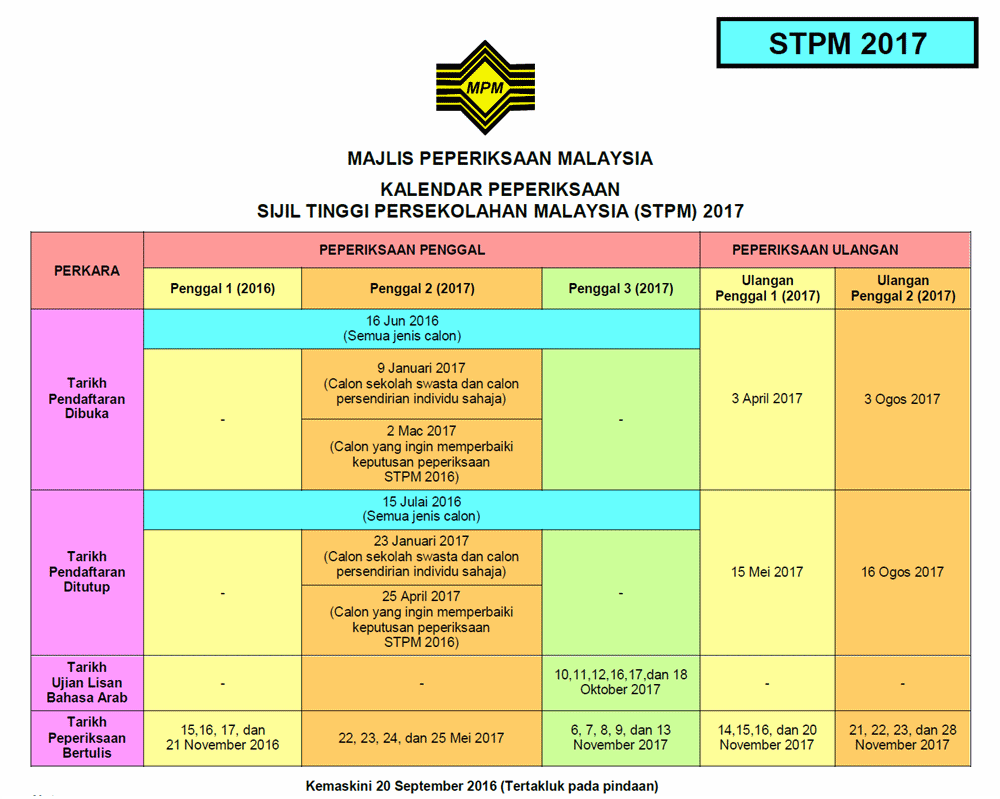 kalendar stpm 2017