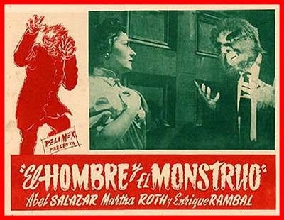 Foto Cromo promicional de la película El hombre y el monstruo