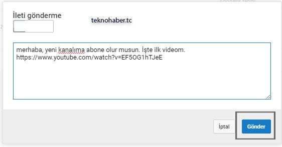youtube üzerinden bir ileti gönderme