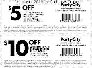 Party City coupons for december 2016