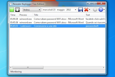 keylogger che memorizza password digitate sul pc