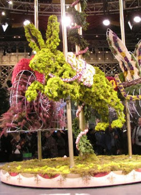 carousel rabbit made of flowers