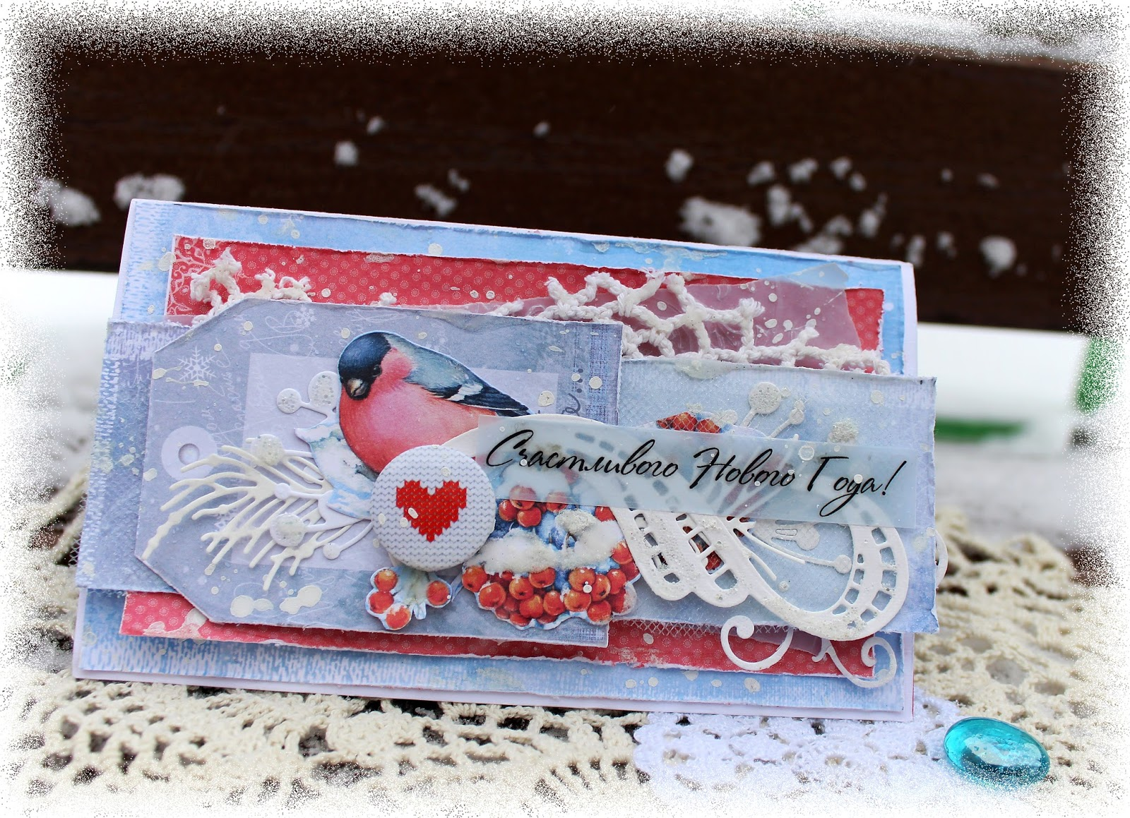 открытка со снегирем в туннельной технике