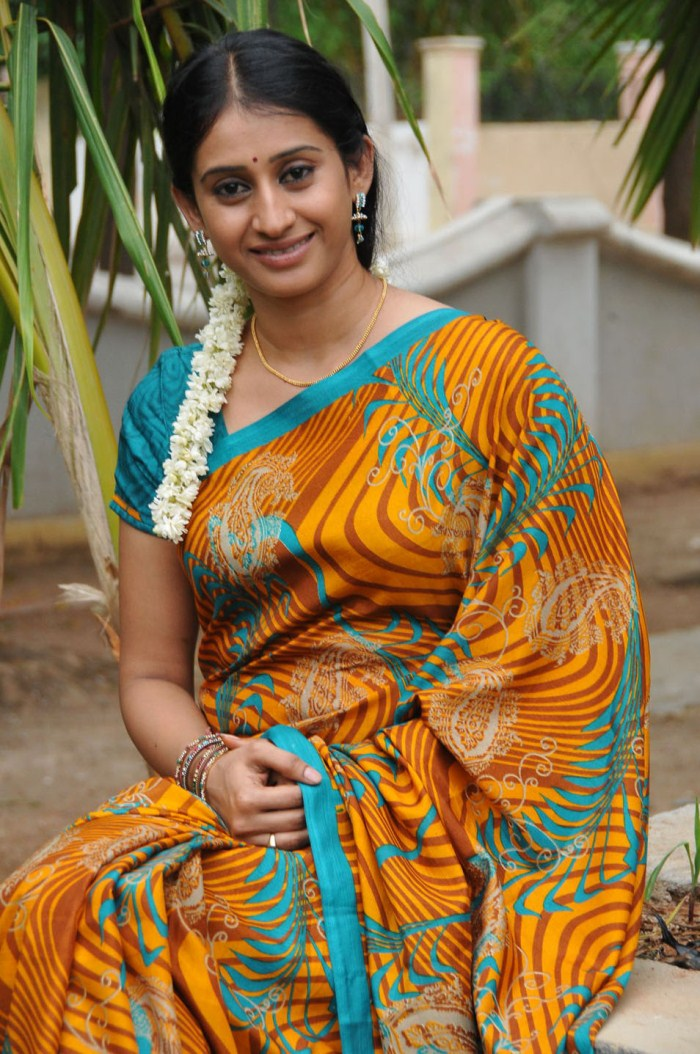Telugu Tv Serial Actress Meena In Yellow Saree Picture -8075