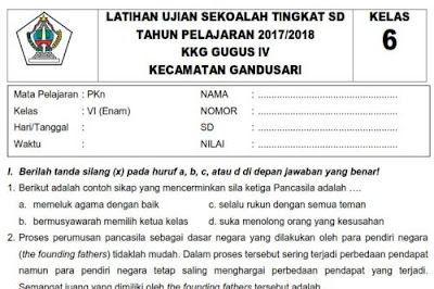 Soal PKn Ujian Sekolah Kelas 6 SD Tahun 2018