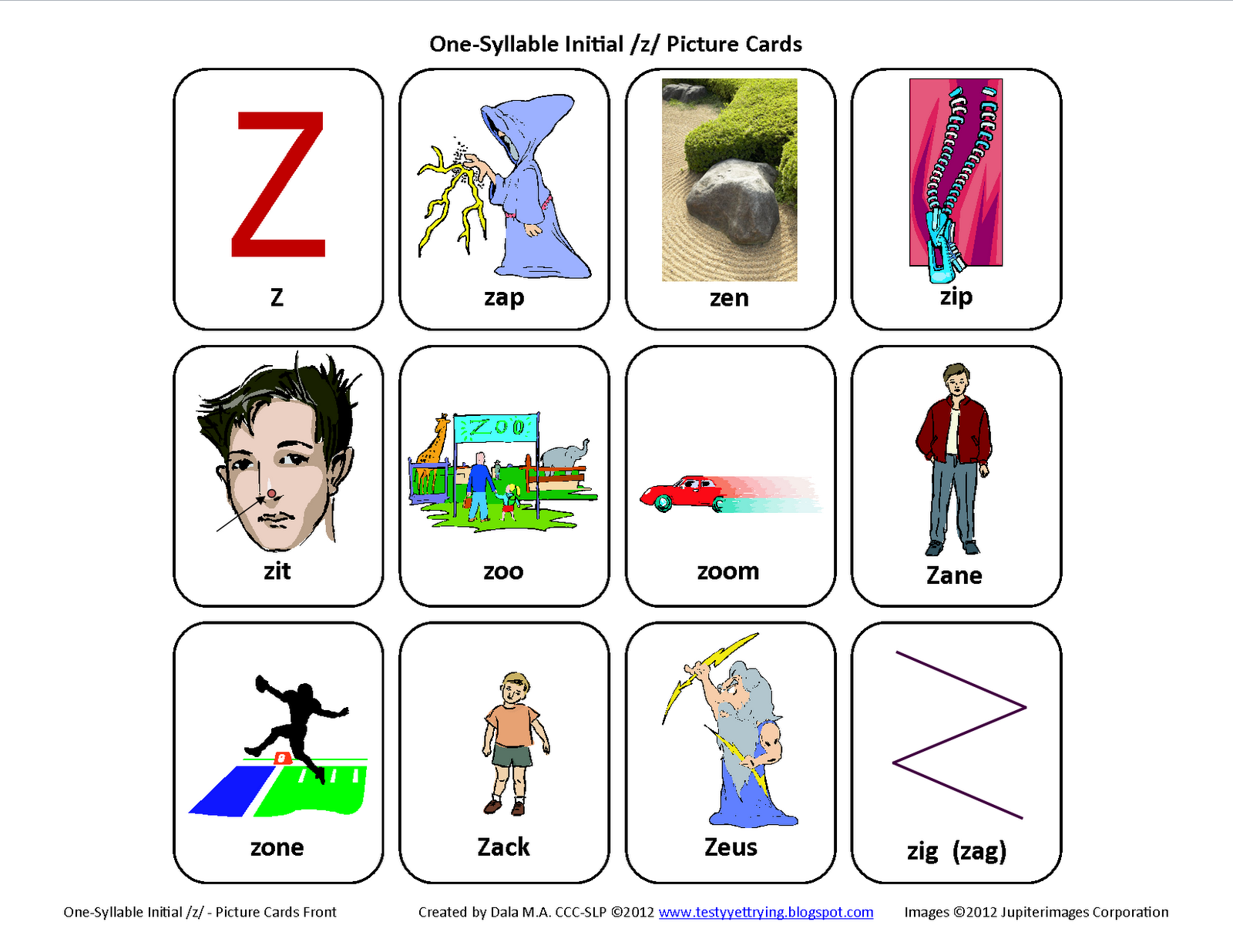 3 letter z words words start with letter z driverlayer search engine 20087 | Inital%2BZ%2BSpeech%2BTherapy%2BArticulation%2BCards%2BFront