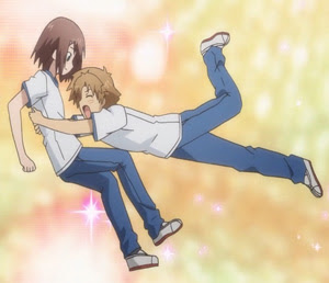 Akihisa jumping on Hideyoshi