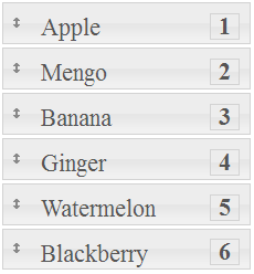 jQuery sortable placeholder position number