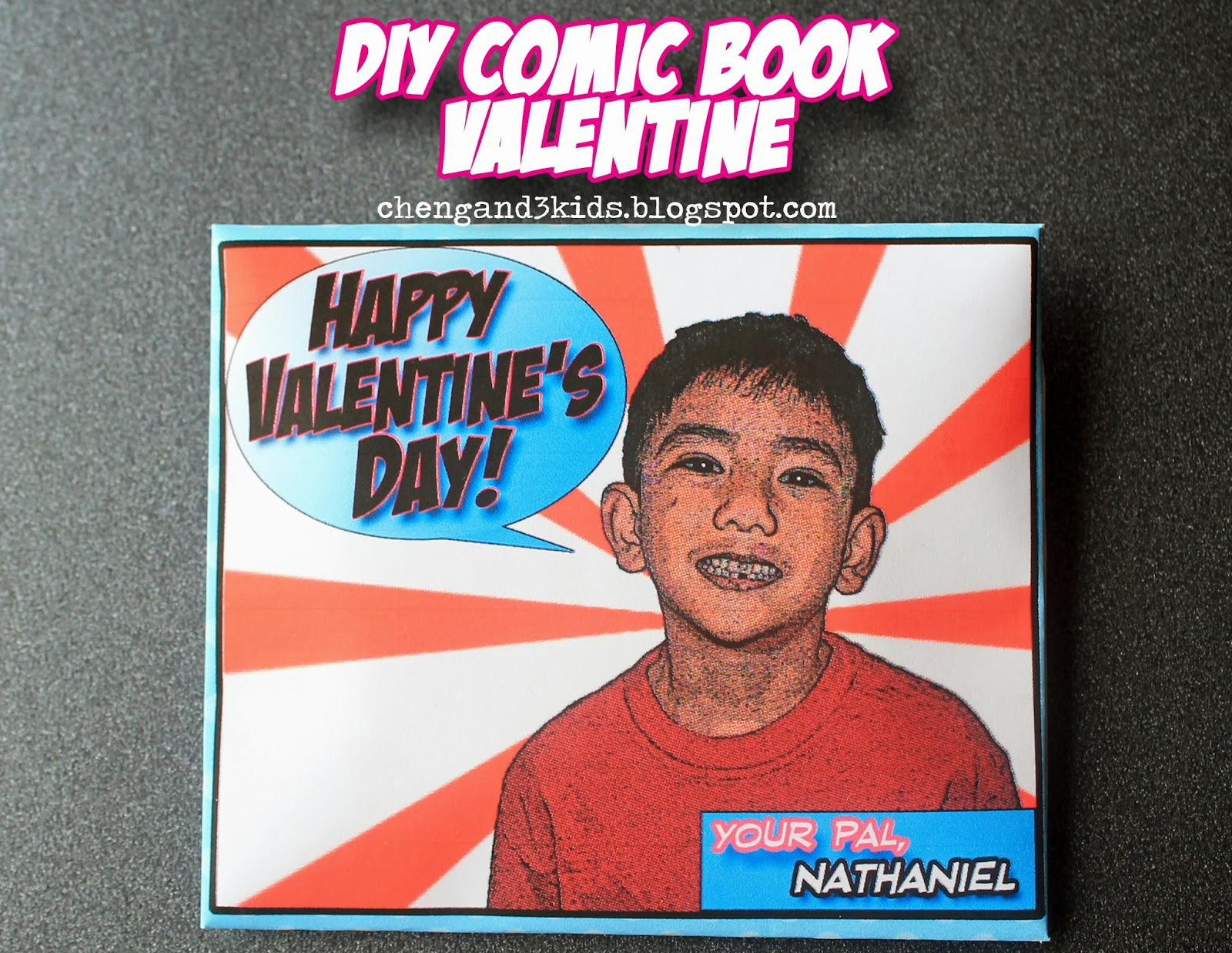 DIY Comic Book Valentine by Cheng and 3 Kids