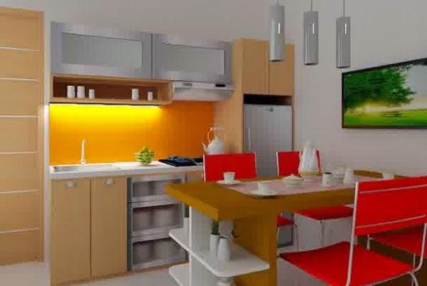 Gambar dapur mungil yang moderen dilengkapi meja makan