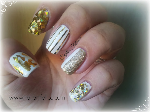 unghie decorate foil oro smalto bianco