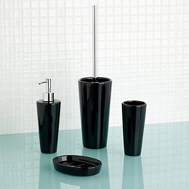 QG High Quality Modern Clear / Black Acrylic Bath Bathroom ... |Black Bathroom Accessories