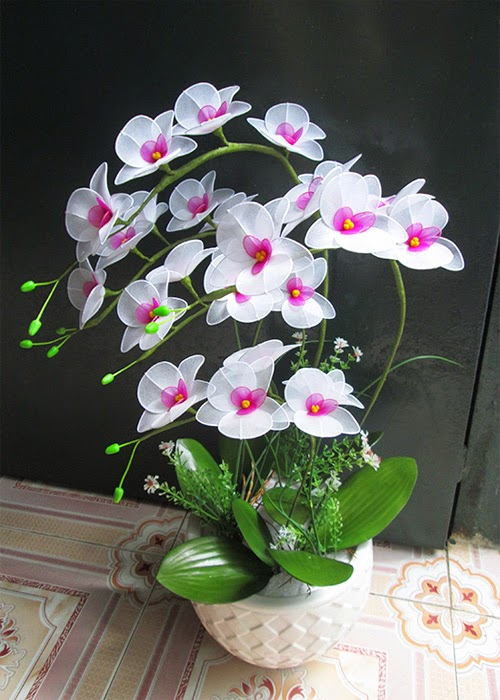Hoa lan vải voan - Cách làm hoa lan đẹp từ vải voan