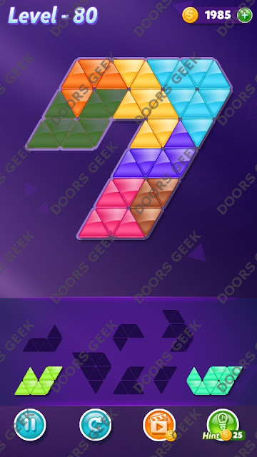Block! Triangle Puzzle 7 Mania Level 80 Solution, Cheats, Walkthrough for Android, iPhone, iPad and iPod