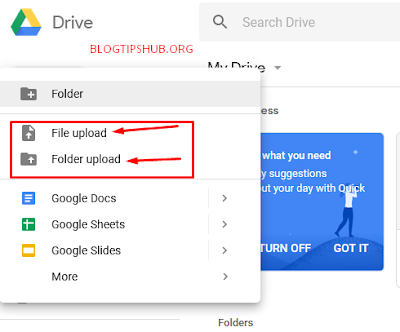 upload files to google drive using pc or computer