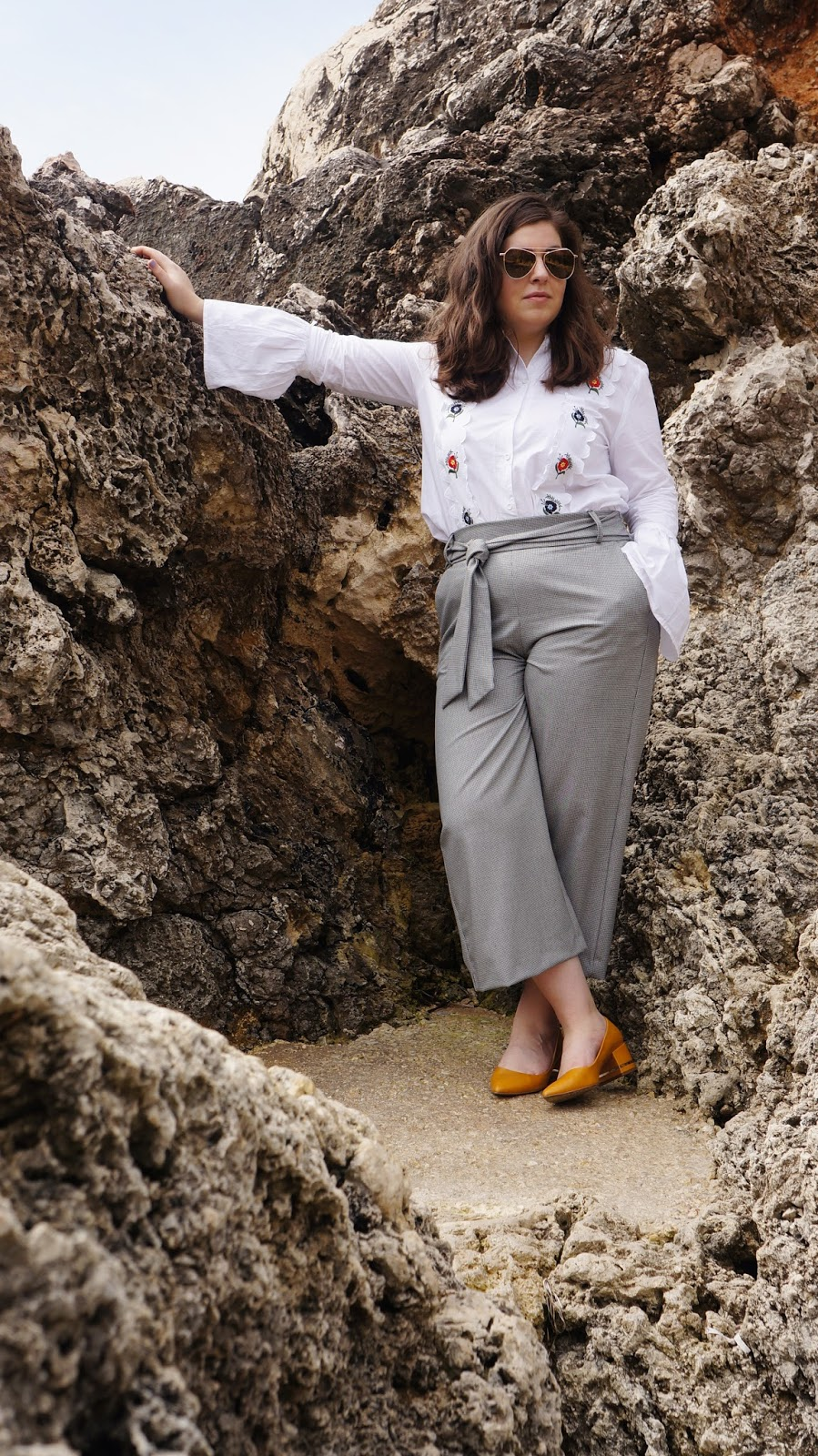 Topshop Shirt, Zara culottes, Zara shoes, Malta beach