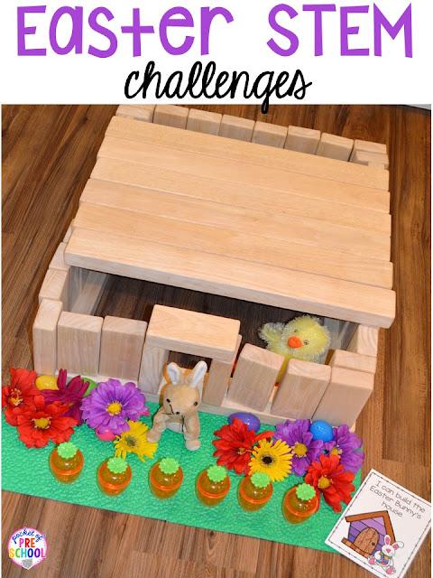 Easter STEM blocks center building challenges. Plus peeps 5 senses and taste test FREEBIE. For preschool, pre-k, and kindergarten.