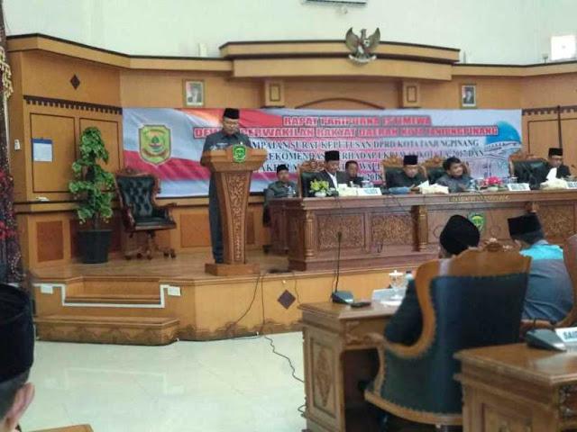 DPRD Tanjungpinang Lakukan Paripurna Istimewa LKPJ Walikota TA 2017 & AMJ 2013-2018