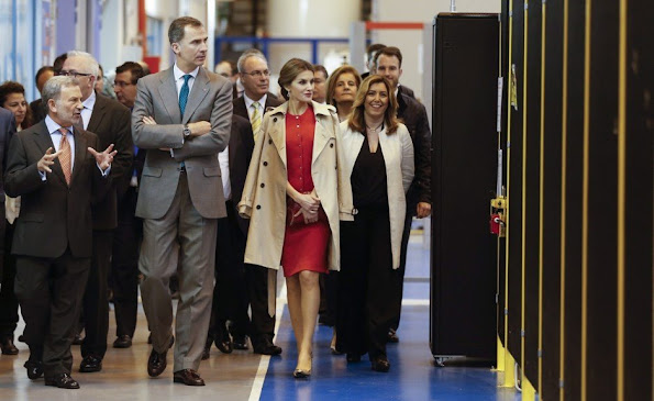 King Felipe of Spain and Queen Letizia of Spain attended the opening of the 1st incubator of the transfer aerospace technology in La Rinconada