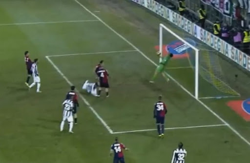 Cagliari goalkeeper Michael Agazzi pulls off a miraculous save to deny Juventus' Kwadwo Asamoah