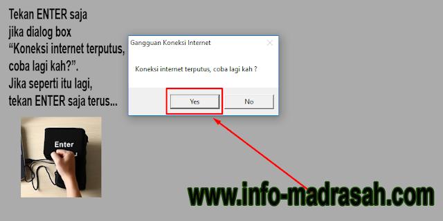 sibos pintar, Koneksi internet terputus, coba lagi kah ?
