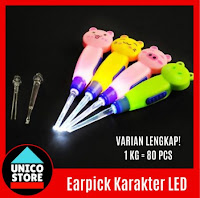 🏆TERMURAHH🏆 Earpick Cartoon LED Cute Animal Korek Kuping Telinga Karakter Lampu LED