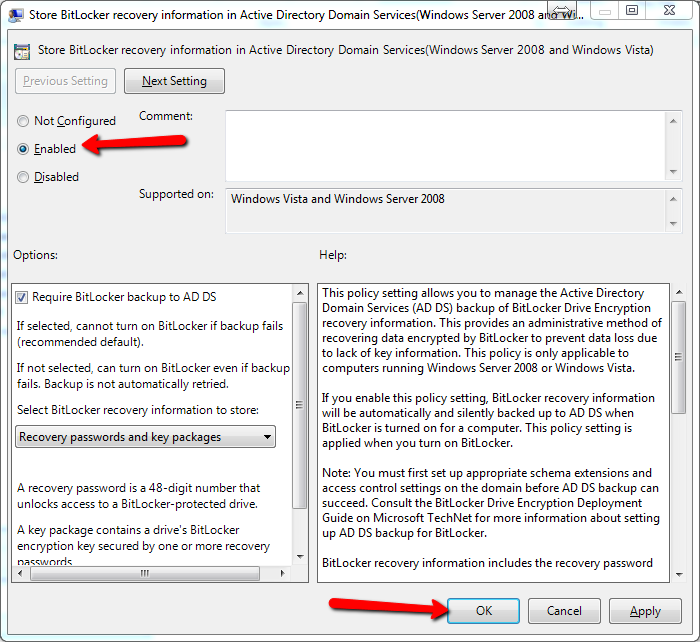 store bitlocker key in active directory
