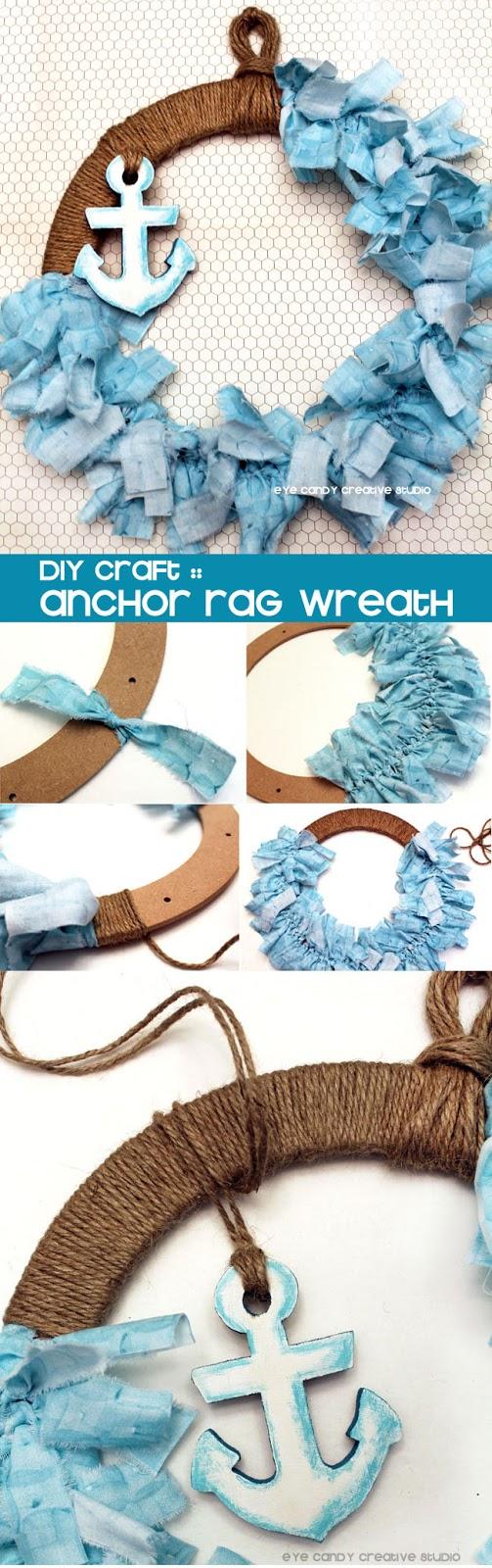 DIY craft, wreath, how to make a rag wreath, nautical wreath, beach theme