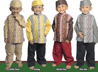 Contoh busana muslim anak laki-laki motif batik cap