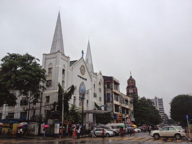 city center of Yangon with old colonial era buildings