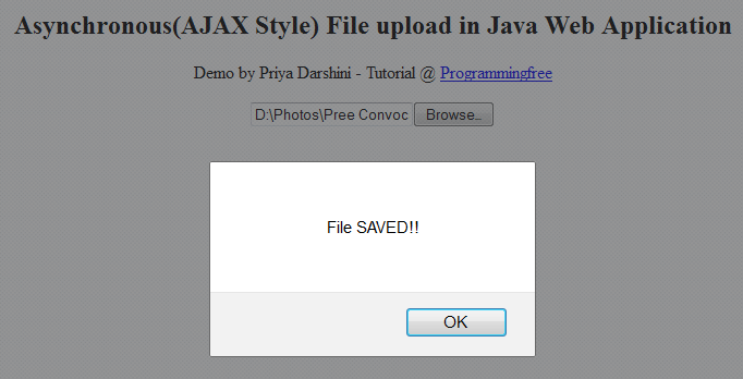 Asynchronous (AJAX Style) File Upload in Java Web Application