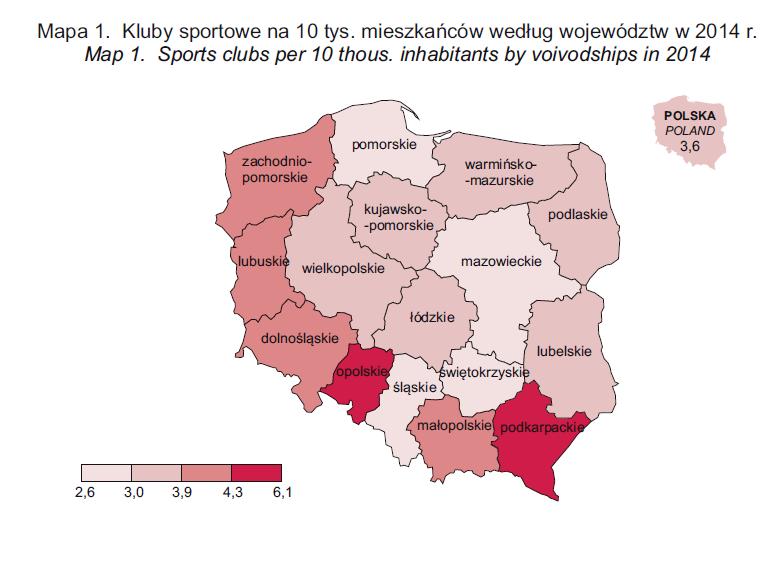 Kluby sportowe na 10 tys. mieszkańców według województw w 2014 r. - źródło GUS