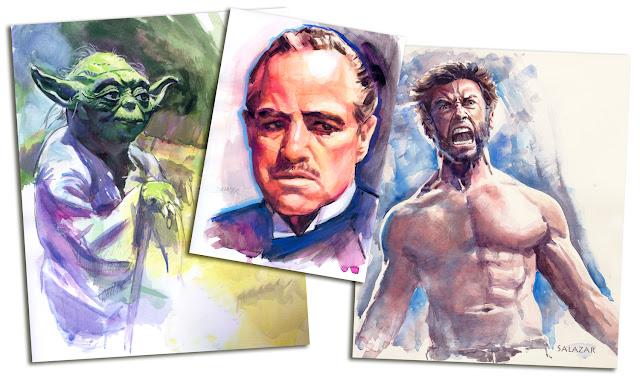 Varios retratos en acuarela: Yoda, Wolverine, Marlon Brandon
