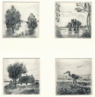 Elsbeth Schneider: Vier Landschaften, Kaltnadelradierung, 2012