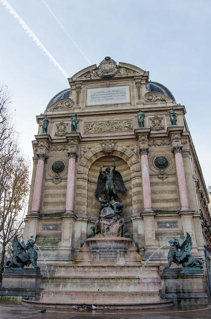 Saint-Michell Paris France, fontnna św Michała, Paryż Francja