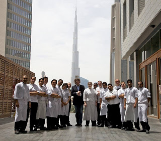 Chef Marco Pierre White and fellow cooks at Wheeler's grand opening in Dubai