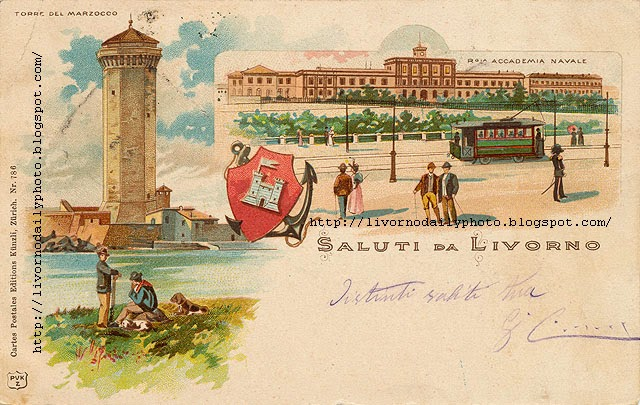 Greetings from Livorno, Saluti da Livorno old postcard