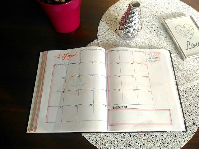 rozpiska miesiąca w Bullet Journal