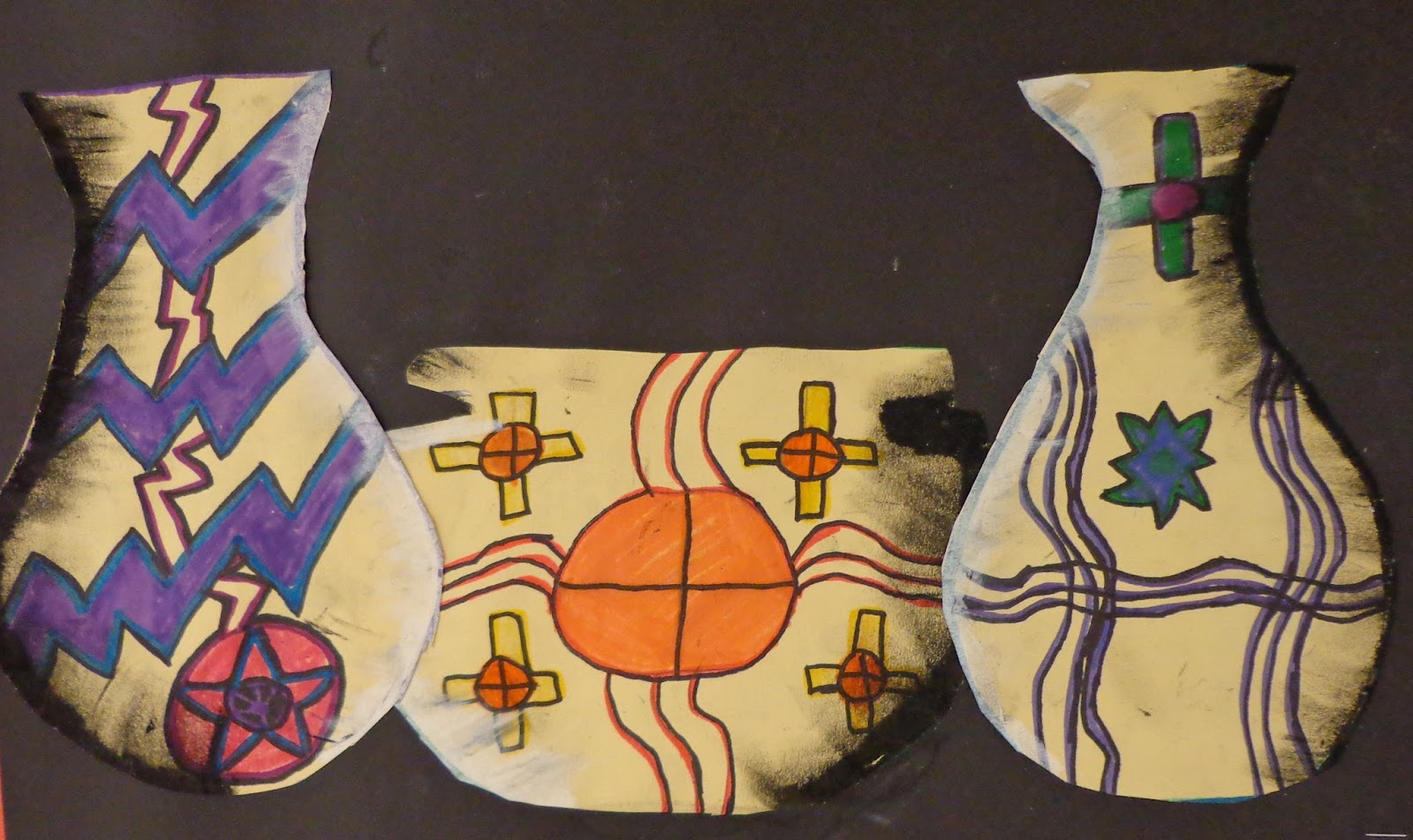 The art factory native american pottery students in grades 4 6 created these native american vases as an introduction to a pottery unit we began by sketching several vase designs using buycottarizona