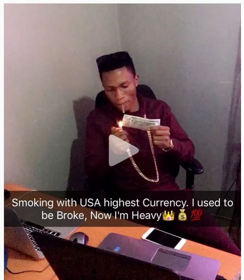 Popular Blogger Deskid Wayne Breaks The Internet As He Smokes with USA Highest Currency.