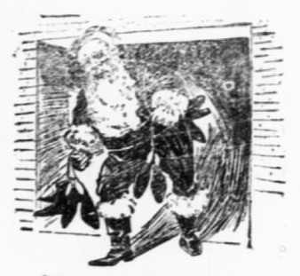 Screengrab of vintage line drawing of Santa coming out of the chimney